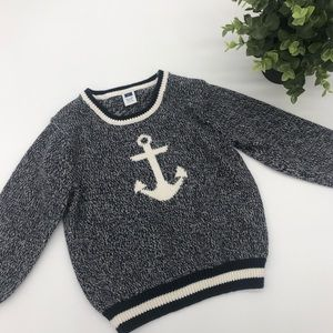 Janie and Jack Sailor Anchor Woven Sweater
